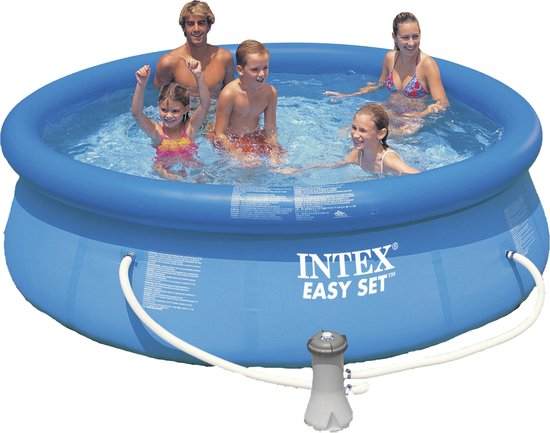 Intex Easy Set Opblaasbaar Zwembad - 305 cm - Inclusief 12V Filterpomp