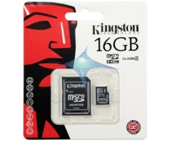 Kingston microSD kaart 16 GB + SD adapter