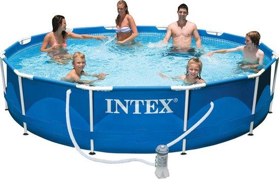 Intex Frame Zwembad 366 cm - Inclusief 12V Filterpomp