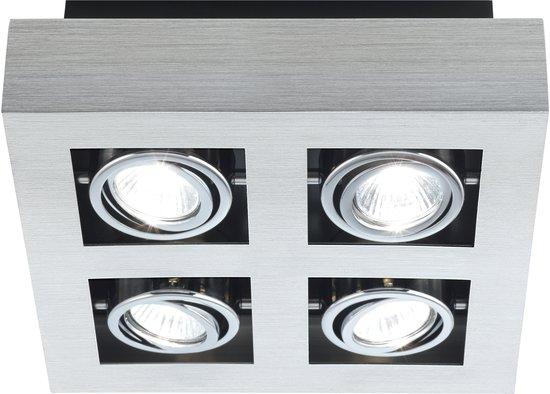 EGLO Loke - Opbouwspots- 4 Lichts - Aluminium-Geborsteld, Chroom, Zwart