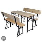 vidaXL - Tuinset Inklapbare biertafel - 4 persoons - Massief hout - Bruin/zwart