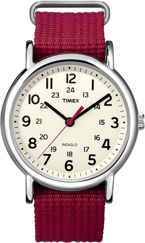 Timex T2N751 Weekender Slip Through - Horloge - 36 mm - Rood