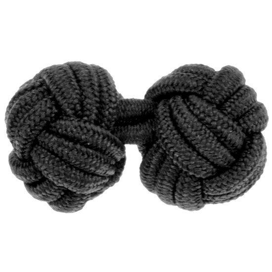 Gevlochten Manchetknopen - Zwart