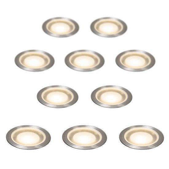 QAZQA Guard - Inbouwspots - LED - IP54 - Set 10 Spots - Lichtkleur Warm Wit