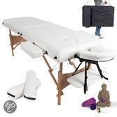 Massagetafel met matras van 7,5 cm hoog + witte rolkussens en draagtas