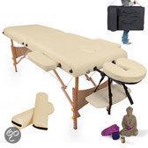 Massagetafel met matras van 7,5 cm hoog + beige rolkussens en draagtas