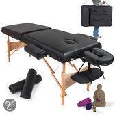 Massagetafel met matras van 7,5 cm hoog + zwarte rolkussens en draagtas