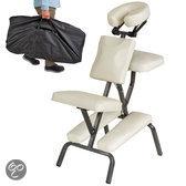 Massagestoel, behandelstoel met dikke bekleding beige inclusief zwarte draagtas