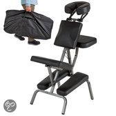 Massagestoel, behandelstoel met dikke bekleding zwart inclusief zwarte draagtas