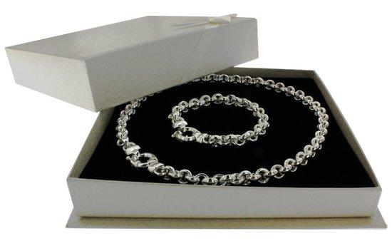 Classics&More - Zilveren Sieradenset - Jasseron Collier & Armband