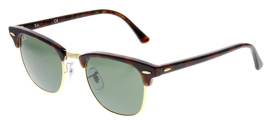Ray-Ban Clubmaster RB3016 W0366 - Zonnebril - Bruin/Groen - 49 mm