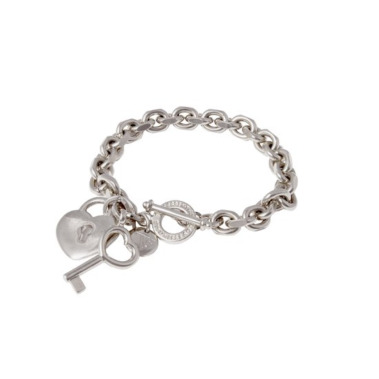 TOV Essentials - Key to your heart bracelet - zilver - hart en sleutel pendant - 19 cm