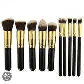 Kabuki 10 in 1 professionele cosmetische make-up kwasten set zwart gouden