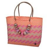 <b>Handed By</b> Brasilia - Strandtas - Perzik met roze en grijs patroon