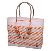 <b>Handed By</b> Brasilia - Strandtas - Poeder roze met oranje en grijs patroon