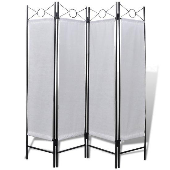 Wit kamerscherm 4 panelen opvouwbaar 160 x 180 cm