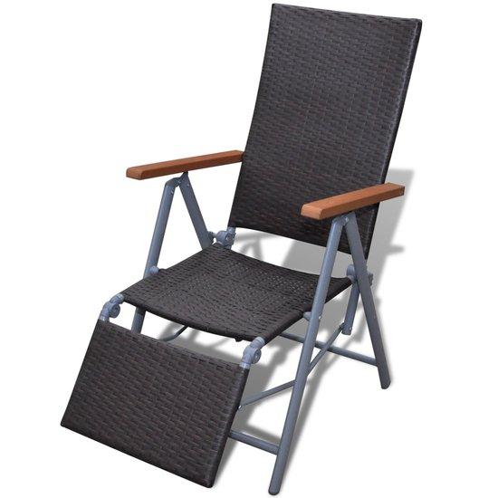 Tuinstoel ligstoel wicker en aluminium (bruin)