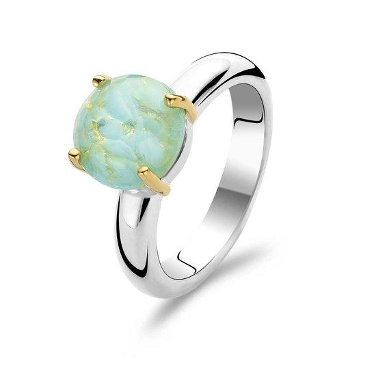 Ti Sento Ring 1842/AD - Zilver met aquagroene steen - Verguld - Maat 54 (17.25)