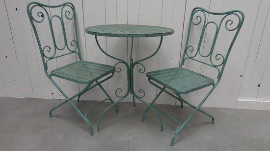 Decoratieve bistroset blauw/grijs smeedijzer tafel met 2 stoelen