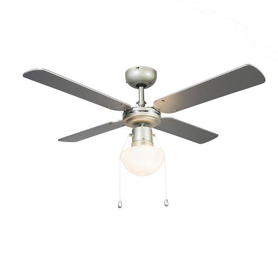 QAZQA Wind 42 - Plafondventilator met lamp - Ø100 cm - Zilvergrijs