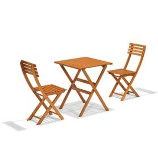 Bistro set - 2 persoons - Hout - Naturel