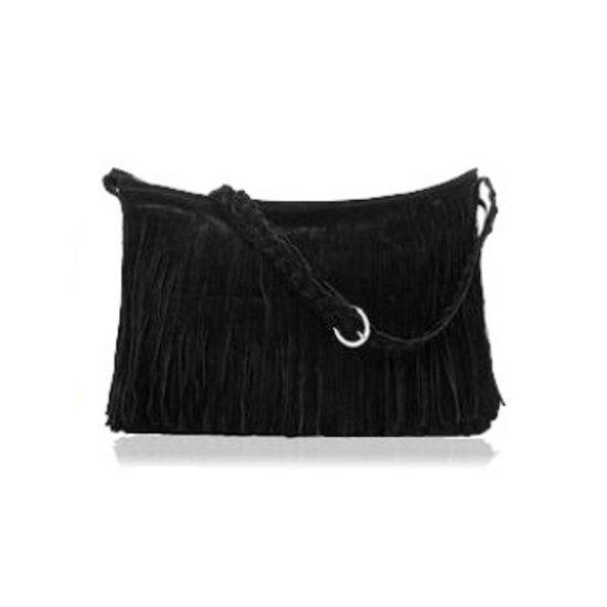 Ibiza Style Tas met Franjes - Zwart