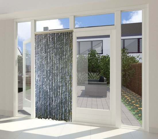 Cortenda kattenstaart vliegengordijn grijs/wit gemeleerd 90 x 220 cm