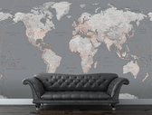 Fotobehang - Silver Map - 232 x 315 cm - Grijs