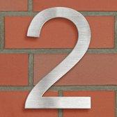 RVS huisnummer 2 ong. 20 x 13 cm nieuw 400799