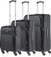 TravelZ - Softspinner Kofferset - 3-delige Trolleyset set gevoerd en cijferslot - Zwart