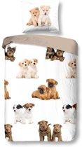 Snoozing Puppies - Flanel - Dekbedovertrek - Eenpersoons - 140x200/220 cm + 1 kussensloop 60x70 cm - Multi kleur