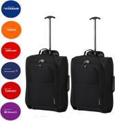 5Cities trollyset 2 trolly's zwart 42L (handbagage)