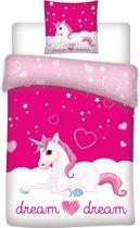 Unicorn Dream - Dekbedovertrek - Eenpersoons - 140 x 200 cm - Roze